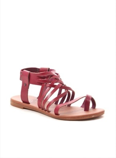 Gio&Mi %100 Deri Sandalet Bordo